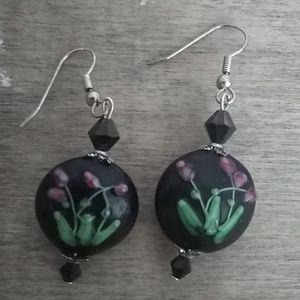 Black hand painted Earrings